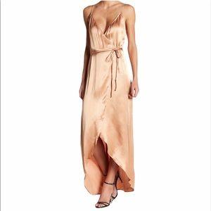 WAYF Teagan Satin Wrap Maxi Dress in Rose Gold